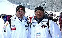 トレーナーとして帯同してくれたスポ科菊地先生(左)