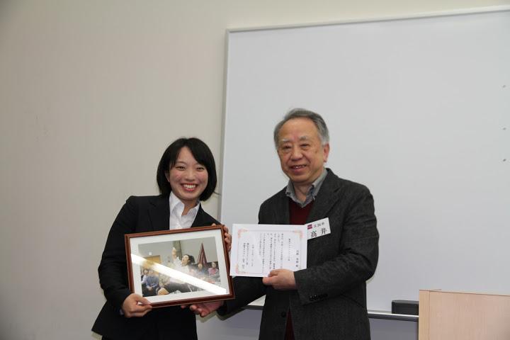 フォトジェニック賞を受賞した高瀬(文4)